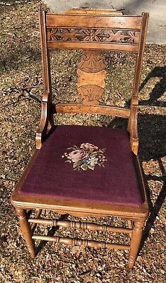 Antique Victorian Era  Floral Needlepoint Chair Eastlake Style gorgeous
