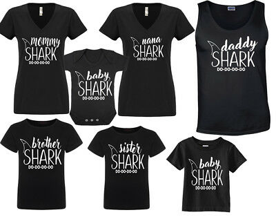 f7ec1ab0 Daddy Mommy Baby SHARK Sister Bother Nana Family Matching Black T-shirts