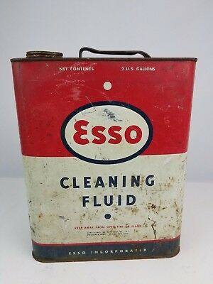 Vintage Esso Cleaning Fluid 2 Gallon Oil can missing cap fair condition