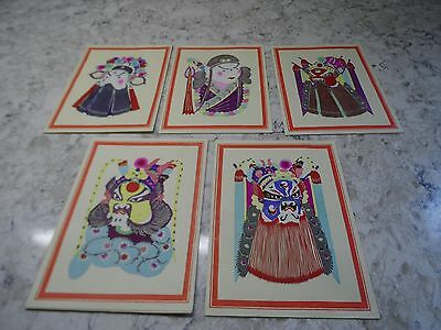 5 Vintage Chinese Hand Cut Watercolor Masks Note Cards W/ Envelopes Each Differ