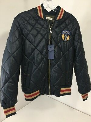 Aofool Men's Quilted Bomber Jacket Navy/red/beige U.s. Extra Small/china Med Nwt