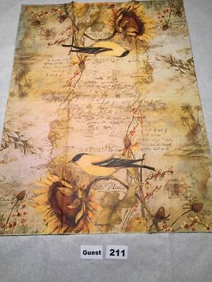 Two (2) New Hostess Napkins Sunflowers Bird for Decoupage, Paper Crafts
