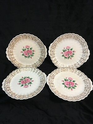 The Sebring Pottery Co China Bouquet 22K Gold Dessert Plates Lot of 4