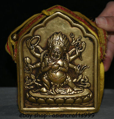 13CM Tibet Kupfer Seidentuch 6 Arme Mahakala Wrathful Gottheit Ghau Shrine Box