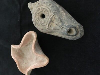 2 Ancient Oil Lamps One With Face Of Hathor  &  2D  4 Wick Oil Lamp  Coa