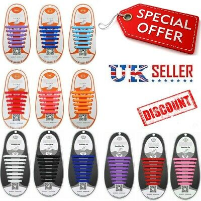Kids Adult silicon shoelaces Lazy Easy No Tie Elastic Trainer Shoe Lace Rubber