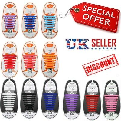 Silicon Shoelaces  Lazy Easy No Tie Elastic Trainer Shoe Laces For Kids & Adult