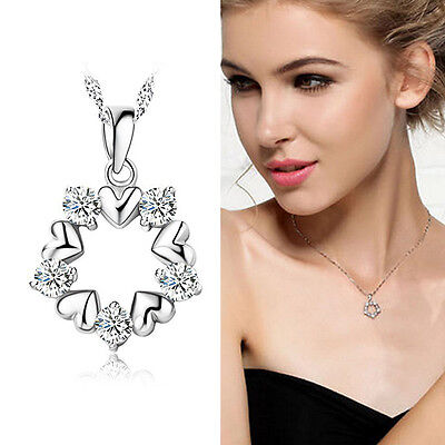 925 Silver Plated Rhinestone Necklace Top Jewelry Chain Gem Pendant Flower r