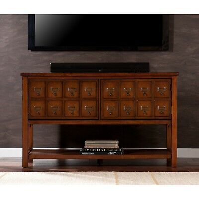 Cmc91999 Brown Mahogany Apothercary Doors Console / T.v Stand