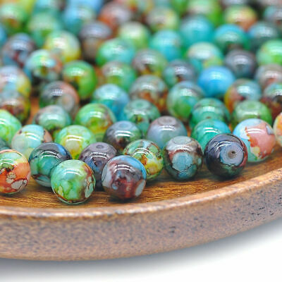 30Pcs Double Color Glass Pearl Beads Round Spacer Loose Beads 8MM Bulk Lots