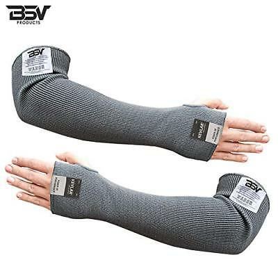 Cut/Scratch Resistant Kevlar Arm Sleeves with Thumb Hole - 18 inches (Black)