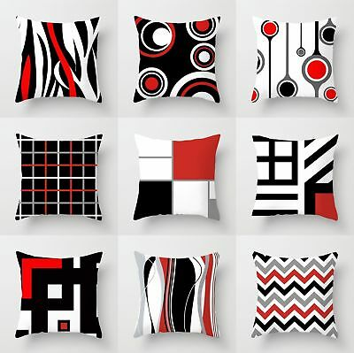 Geometric Black & White& Red Throw Pillow Case Waist Cushion Cover Home Decor