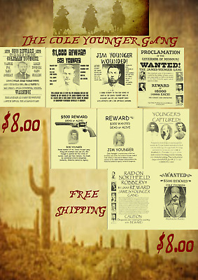 9 Old West Wanted Poster Youner Gang Western Bank Jesse James Outlaw