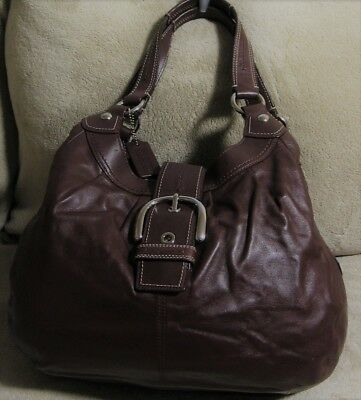 398 COACH SOHO Medium Dark Brown Leather Satchel Tote Ergo Hobo Shoulder  Bag 8f8411775f9d0