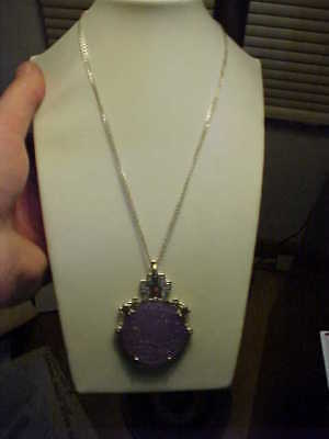 Large Carved Lavender Jade HSN Chinese Motif Pendant Necklace Sterling Silver CZ