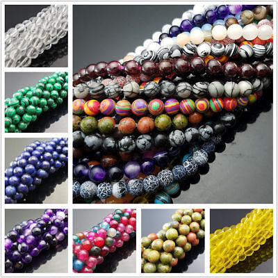 """Wholesale Natural Gemstone Smooth Round Loose Beads 15"""" 4mm 6mm 8mm 10mm 12mm"""