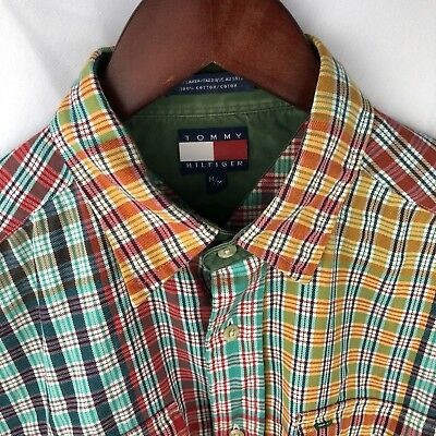e622ba73 Tommy Hilfiger Vintage Mens Medium Multi-Color Plaid Flannel Shirt Long  Sleeve