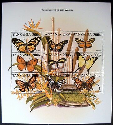 Tanzania Butterfly Stamps Sheet Mnh 99' Butterflies Of The World Moth Insect Bug