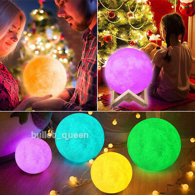 3D Large Moon Lamp USB LED Night Light Touch + Remote Color Changing 18CM 20CM