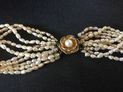 10 Strand Rice Pearl  Necklace, Ornate Clasp, 82 cm Long, Vintage