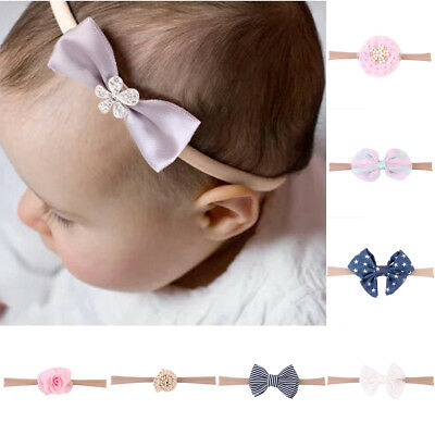 USA 10Pcs Baby Girls Infant Toddler Flower Bow Headband Hair Band Accessories