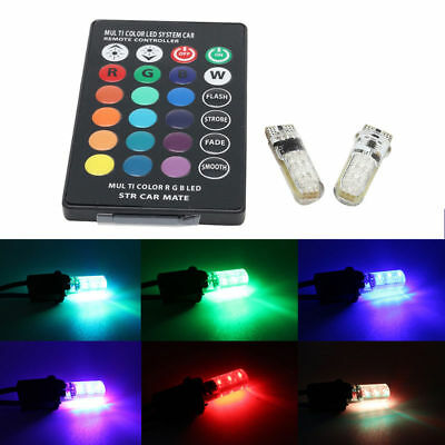 2X LED T10 Remote Control W5W 501 RGB Color Changing Car Wedge Side Light Bulb E