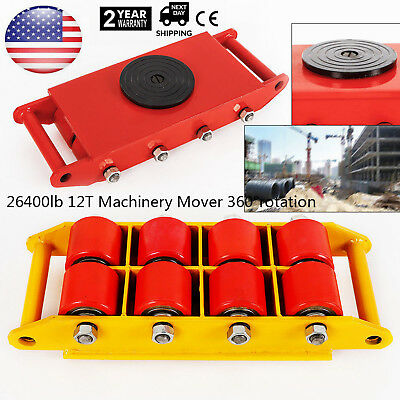 Heavy Duty Machine Dolly Skate Machinery Roller Mover Cargo Trolley 12T 26400lbs