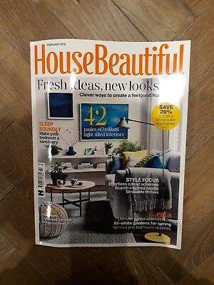 House Beautiful Magazine February 2019 in Good Condition- House and Garden Ideas