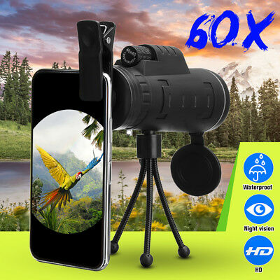 HD Optical 40x60 Day Night Vision Dual Focus Zoom Monocular Binoculars Telescope