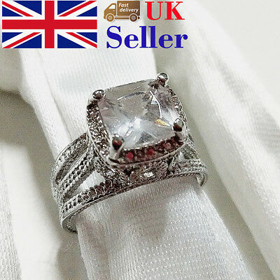 Ring Women 925 Silver Plated Rhinestone Fashion Wedding Engagement Jewelry Gift