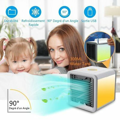 Portable Mini Desktop Air Conditioner 3 In 1 Cooler Fan USB Charging LED Lights