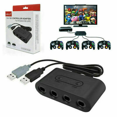 4 Port Gamecube NGC Controller Adapter For Nintendo Wii U Switch and PC USB AU