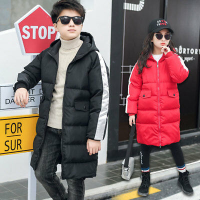 Kids Boy Girls Hooded Long Parka Padded School Quilted Winter Coat Jacket Puffer