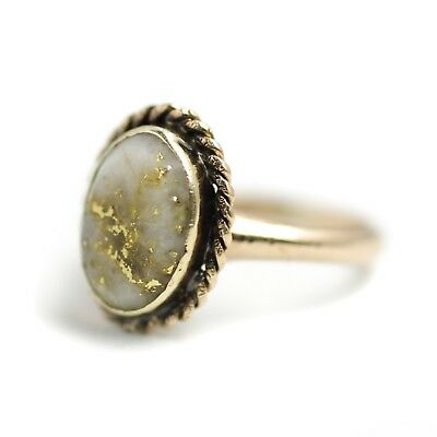 Antique 1890s Late Victorian Gold in Quartz and 12K Rose Gold Ring Size 4.5
