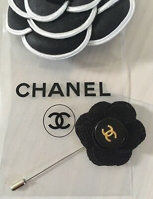 Camellia Brosche Pin Brooch Spilla orig. signiert Chanel Knopf Button Boutons
