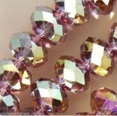 A 100PCS 4X6MM  Crystal Loose Beads Red wine AB