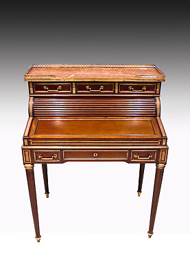 French Mahogany And Brass Inlaid Marble Top Writing Desk