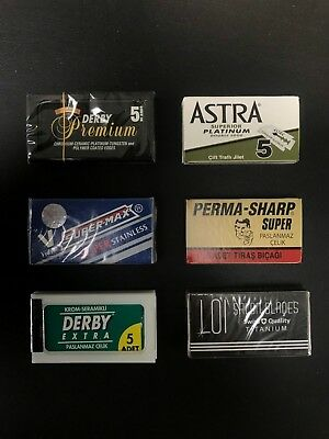Double Edge Razor Blade Premium Sample Pack 40 Blades Perma Sharp Astra Derby
