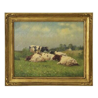 Antique Landscape Painting of Cows by Frank Russell Green (American, 1856-1940)