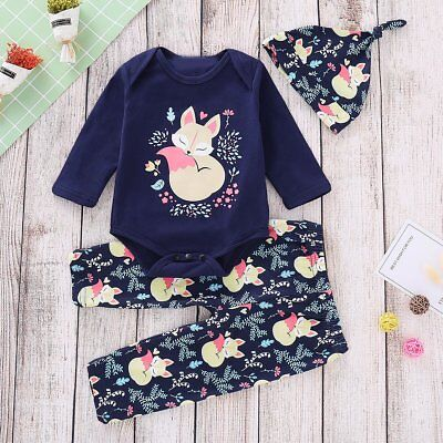 Newborn Infant Kids Baby Boy Girl Romper Tops+Pants+Hat Outfits 3PCS Set Clothes