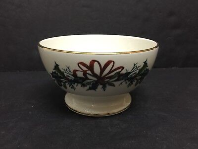 Mint Lenox Winter Greetings Footed Dessert Bowl     First Quality