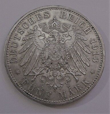 Prussia-Germany 5 Mark 1913 Silver