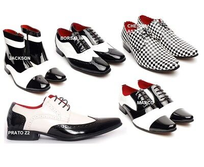 Mens Shoe, Black and White Laceup Formal Gangster Shoes office party event