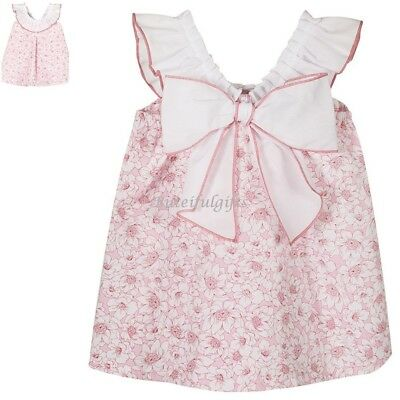 Baby Girls Spanish Pink Floral Bow Back Cotton Sun Dress Up to 24 Months SS19