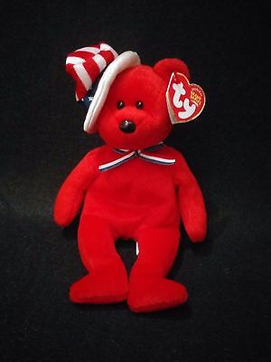 """Ty Beanie Babies 2003 Sam The Red Patriotic Bear Beanbag With Tags 9"""" Retired"""