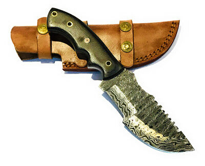 "Damascus Steel 24cm (9.5"") Hand Forged Fixed Blade TRACKER Knife"