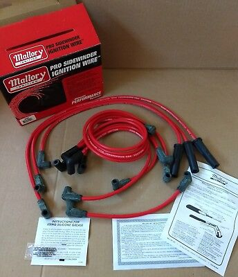 MALLORY SPARK PLUG Wire Set 937C; PSW Ceramic Boot 8.0mm Red Spiral on