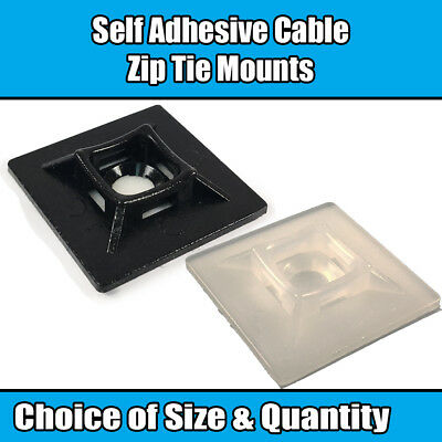 Self Adhesive Cable Zip Tie Mount Fixing Base Wire Black White 19mm 25mm 28mm