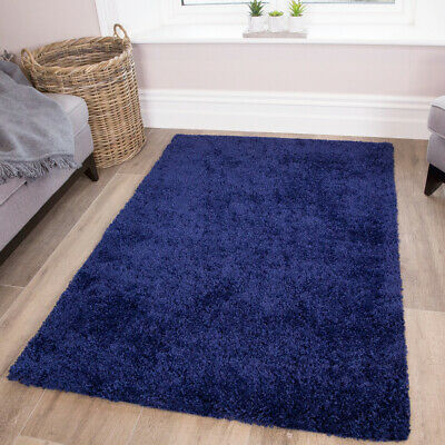 Best Cosy Navy Blue Shaggy Rugs Soft Furry Thick Non Shed Living Room Rugs Cheap
