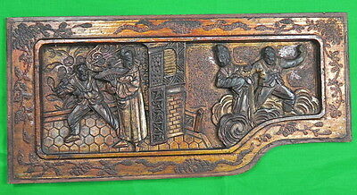 Antique Old Chinese China Elm Wood Carving Wall Plaque Princess Warrior Kung Fu